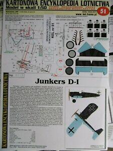 Kartonmodellbaubogen Doppeldecker Junkers D-I / KARTONOWA ENCYKLOPEDIA / Nr. 51