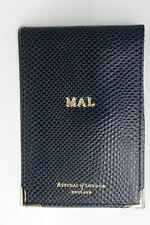 ASPINAL A7 Midnight Blue Lizard Leather Memo Notepad Cover MAL Embossed NEW