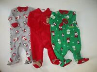 Baby Boy 0-3 Month  Carters XMAS Fleece Sleepers Fall Winter Clothes Lot
