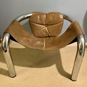 Byron Botker Palo Alto Chrome & Leather Lounge Chair 1970s USA Design