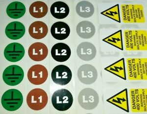Three phase labels power distribution BS7909 Event stickers 3 ph electrical 10mm