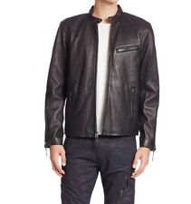 Polo Ralph Lauren Lambskin Cafe Racer Moto Black Leather Jacket S Mens