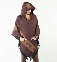 Handmade Poncho with Hoodie Red Crimson YAK Cashmere Wool, Earthy Tribal Pattern