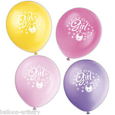 "8 Pink It's A Girl CUTE CLOTHESLINE Baby Shower Party Printed 12"" Latex Balloons"