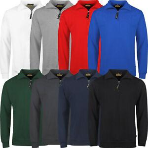 New Mens Jumper Half Zip Pullover Long Sleeve Sweater Plain Jersey Winter Top