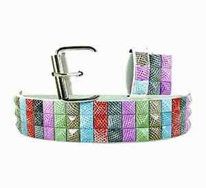 Mens Designer Studded Belt (New M)  Rainbow Animal Print Quality Genuine Leather