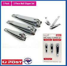 3x Stainless Steel Nail Clipper Finger Toe Cutter Trimmer File Manicure Pedicure