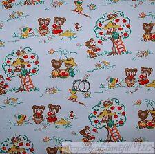 BonEful FABRIC FQ Cotton Quilt VTG Blue Red Green Apple Tree Baby Little Bear US