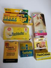 Lot of Vintage Camera Flash Bulbs/Film/Kodak Snapshot Dial GE Sylvania in Boxes