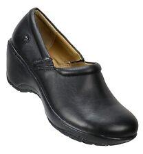 Nurse Mates Womens Bryar Medical Nursing Clogs Size 9.5W Black Leather Slip-On