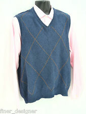 Club Room Men's 100% Cotton Sweater Vest Argyle Golf Sleeveless knit top Size M