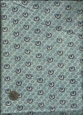 Pretty Tiny Navy Blue Floral Fan Print on cream Fabric by General