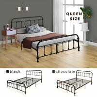Queen Size Heavy Duty Metal Bed Frame Platform Bedroom Furniture Set