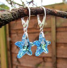 Pendientes de plata 925-elemento Swarovski-Aguamarina AB Cristal Estrella De Mar