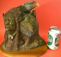 """WOLF INDIAN BALD EAGLE STATUE BUFFALO HEAD DRESS CARVED RESIN 10 X 11"""" SIGNED"""