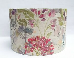 Voyage HEDGEROW linen country pink alliums floral grey drum lamp shade 30cm