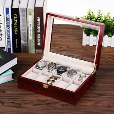 10 ranuras Caja De Reloj Joyería Display Organizador Caja de almacenamiento de madera de vidrio de 10 Rejillas
