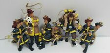 Firemen Christmas Ornaments Hand Painted Vintage Lot of 5- Rare Find