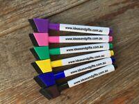 6x Colour Dry Wipe Erasable Med Point Whiteboard Marker Pens Magnetic Lid+Eraser