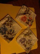 Vintage Ladies Hankies Lot Of 3 Large Floral( Handkerchiefs) Very Pretty