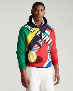 RARE $268 NWT POLO RALPH LAUREN Men's L - 2020 Colorful Tennis Sweatshirt Hoodie