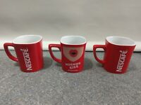 Nescafe Square Red Coffee Mugs x 3 Excellent Condition #P