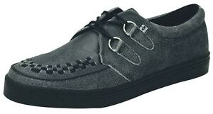 TUK A8594 Charcoal Black Leather Unisex Creepers Shoes Boots Trainers