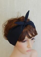 Tie up black headband rockabilly headscarf 50's head wrap retro cotton headband