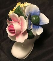 Vintage Crown Royal Bone China England Porcelain Flowers Bouquet in Shoe