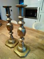 Pair of original antique Queen of Diamonds Brass Candle Sticks 11.5 inches