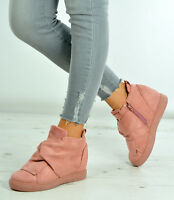 New Womens Ladies Ankle Wrap Wedge Trainers Suede Sneakers Shoes Size Uk 3-8