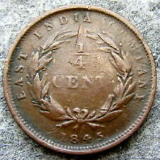 STRAITS SETTLEMENTS EAST INDIA COMPANY QUEEN VICTORIA 1845 1/4 CENT, COPPER