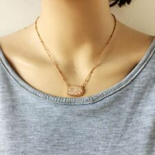 Drusy Oval Pendant Necklace Dainty Stone Resin Delicate Druzy Super Chic Jewelry