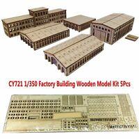 5Pcs CY721 1/350 Fabrikgebäude Holz Modellbau Satz Szene DIY Montage Modell Kits