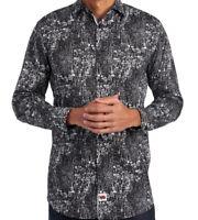Jerry Garcia Mens L/S Shirt * Black Abstract Print Size XL Stretch NWT