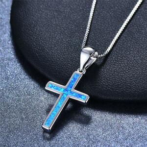 Womens Silver Religious Cross Blue Turquoise Simulated Opal Pendant Necklace