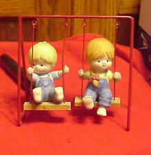 Enesco Country Cousins Katie & Scooter on Swing Set