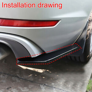 1*Glossy Black Car Rear Lip Diffuser Splitter Canard Protector Car Accessories