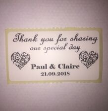 Personalised Thank You Wedding Stickers / Labels 100 Custom White 57mm X 32mm