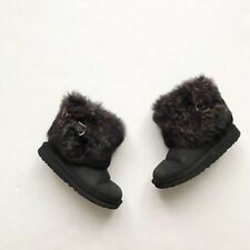 UGGS black Suede Fur Cuffed Ellie boots GUC size 2 youth