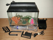 AQUA-TECH HOME AQUARIUM 5 GALLON FISH TANK WITH HOOD AND ACCESSORIES