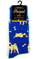 Men's Dog Socks Pug Puppy Crew Cotton Blend Sock Size 10-13 Casual Blue Footwear