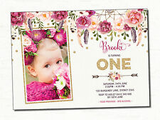 Boho First 1st Birthday Invitation Pink Gold Burgundy Floral Flower Party Invite
