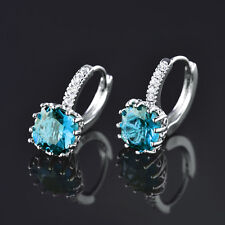 HUCHE Aquamarine Blue Sapphire Crystal Silver Gold Filled Lady Party Earrings