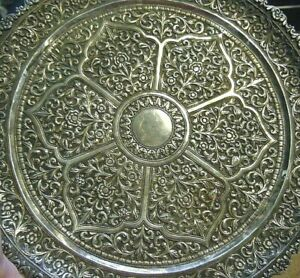 19th C. Chased / Engraved Anglo Indian Lucknow Sterling Silver Salver Tray 35 oz