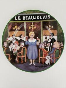 "William Sonoma Le Collection Plate 8.25"" Le Beaujolais Guy Buffet Green Edge"