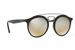 Ray Ban RB4256 6253B8 46 New Gatsby Sunglasses Matte Black/Mirror Grey Gradient