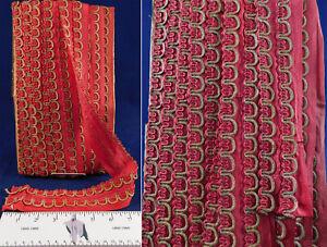 Vintage Unused Red Silk Braided Gold Scalloped Passementerie Trim 11 Yards