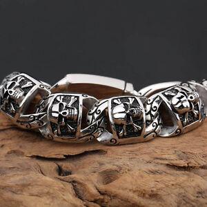 Men jewelry Biker Skull Chain Bracelet Stainless steel Hip Hop design 26mm 8.8''