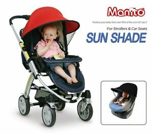 Manito Sun Shade for Strollers and Car Seats (Black) UPF 50+, made in Korea